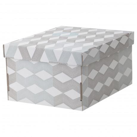 Коробка с крышкой СМЕКА белый, с рисунком  фото 1