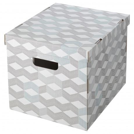 Коробка с крышкой СМЕКА серый, с рисунком фото 1