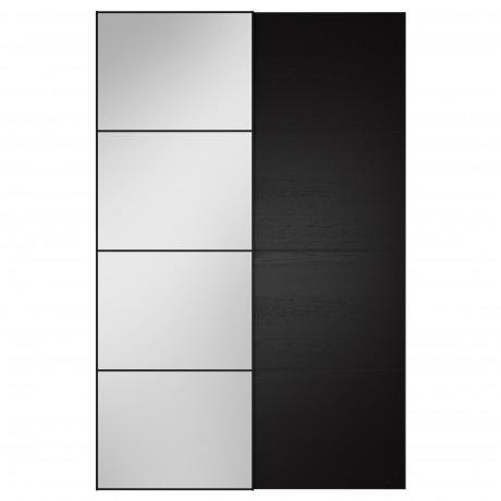 Пара раздвижных дверей АУЛИ / ИЛЬСЕНГ зеркальное стекло, черно-коричневый фото 2