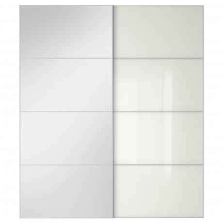 Пара раздвижных дверей АУЛИ / ФЭРВИК зеркальное стекло, белое стекло фото 4