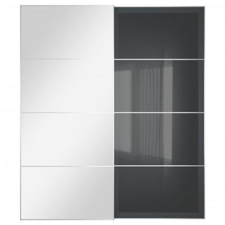 Пара раздвижных дверей АУЛИ / УГГДАЛЬ зеркальное стекло, серое стекло фото 3