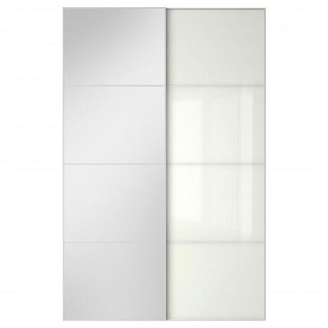 Пара раздвижных дверей АУЛИ / ФЭРВИК зеркальное стекло, белое стекло  фото 1