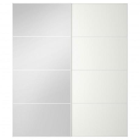 Пара раздвижных дверей АУЛИ / МЕХАМН зеркальное стекло, белый фото 4