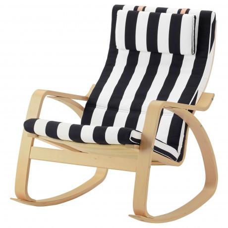 Кресло-качалка ПОЭНГ березовый шпон, Хилларед темно-синий  фото 1