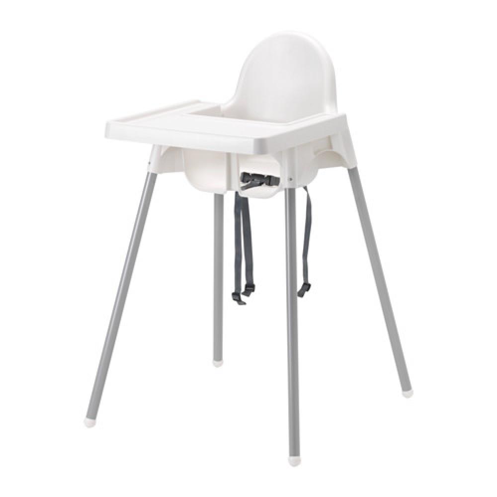 Высокий стульчик со столешн АНТИЛОП белый серебристый, серебристый  фото 1