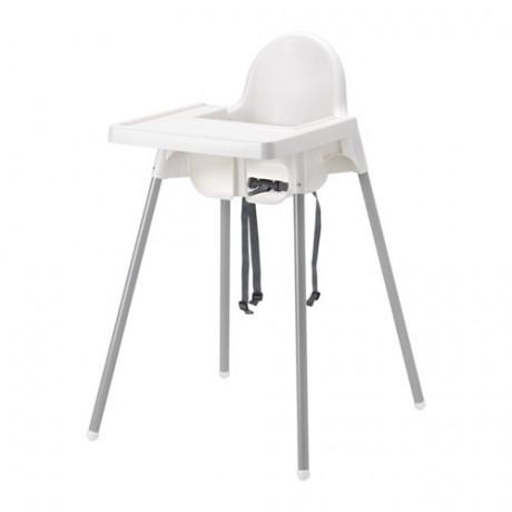 Высокий стульчик со столешн АНТИЛОП белый серебристый, серебристый фото 3
