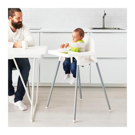 Высокий стульчик со столешн АНТИЛОП белый серебристый, серебристый фото 4