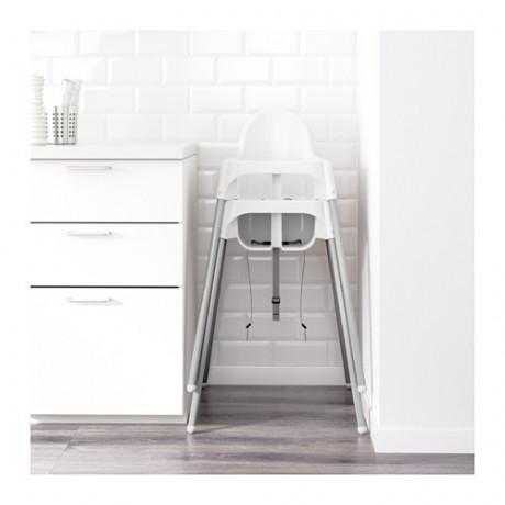 Высокий стульчик со столешн АНТИЛОП белый серебристый, серебристый фото 6