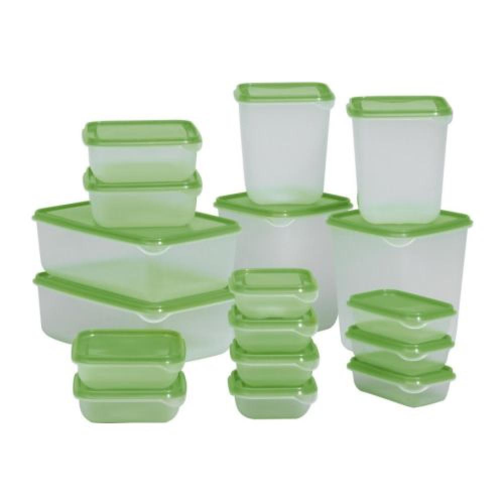 Набор контейнеров, 17 шт. ПРУТА прозрачный, зеленый  фото 1