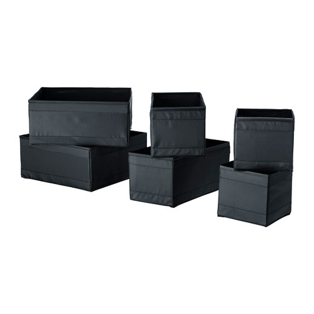 Набор коробок, 6 шт. СКУББ черный  фото 1
